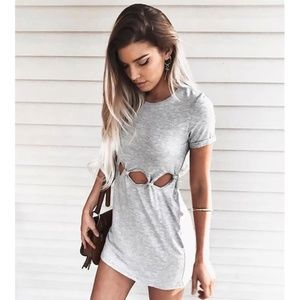 Honey Punch Cut Out T-Shirt Mini Dress Cutouts M